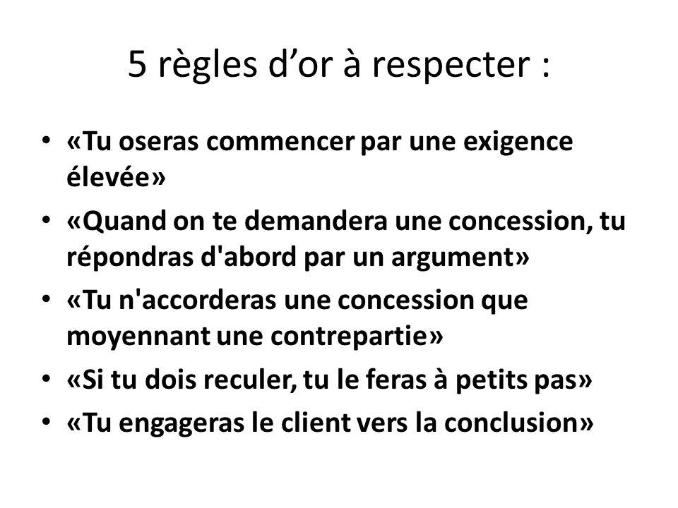 5 règles dor à respecter : «Tu oseras commencer par une exigence élevée» «Quand on te demandera une concession, tu répondras d'abord par un argument»