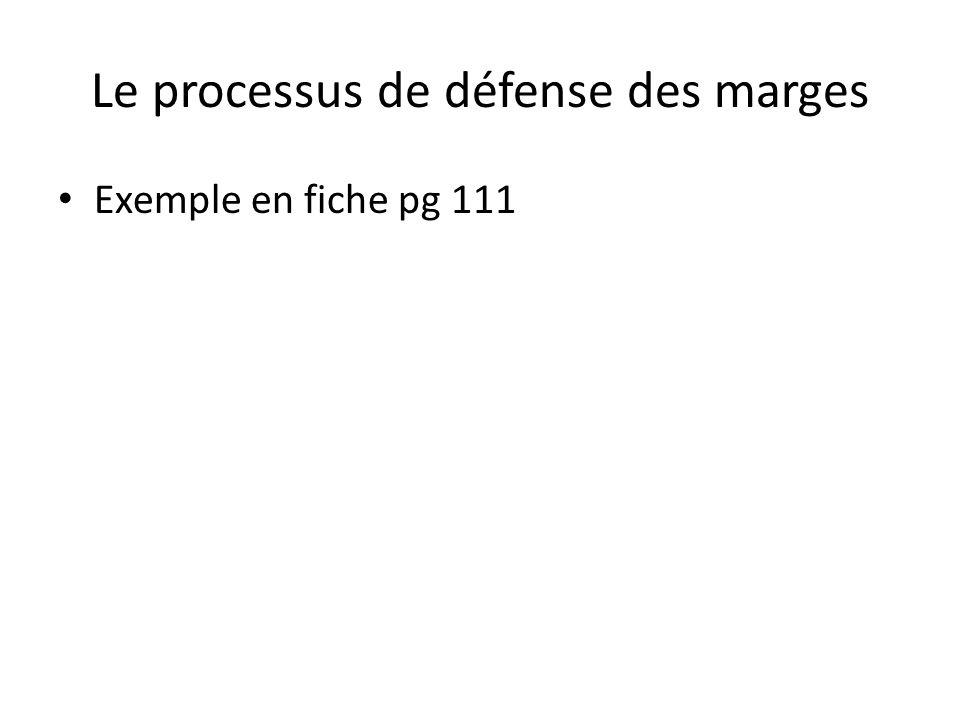 Le processus de défense des marges Exemple en fiche pg 111