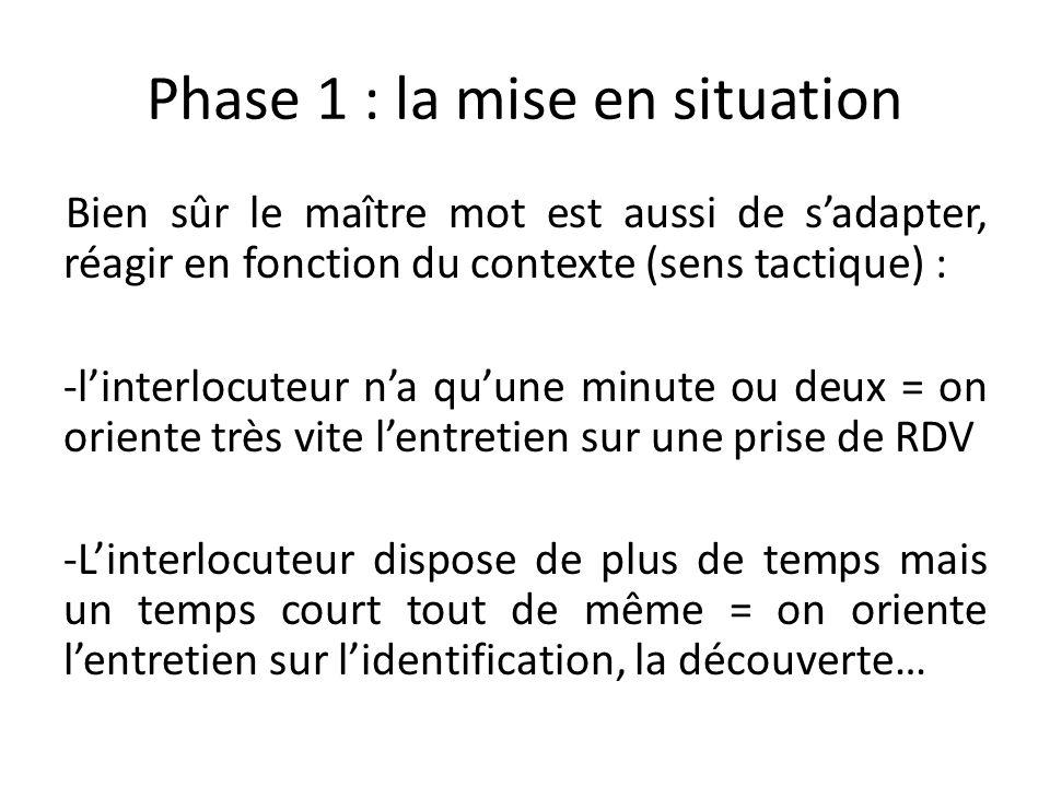 Phase 1 : la mise en situation Bien sûr le maître mot est aussi de sadapter, réagir en fonction du contexte (sens tactique) : -linterlocuteur na quune