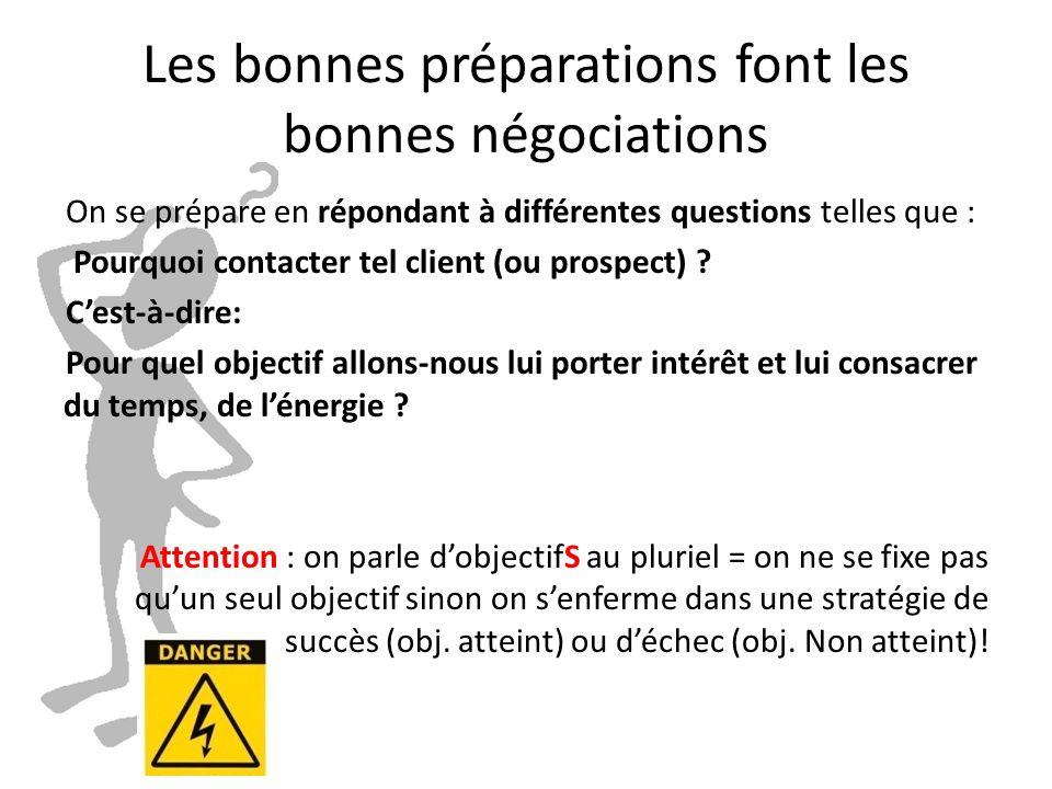 Les bonnes préparations font les bonnes négociations On se prépare en répondant à différentes questions telles que : Pourquoi contacter tel client (ou