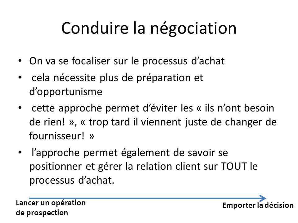 Conduire la négociation On va se focaliser sur le processus dachat cela nécessite plus de préparation et dopportunisme cette approche permet déviter l