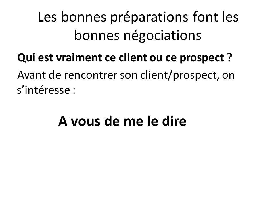 Les bonnes préparations font les bonnes négociations Qui est vraiment ce client ou ce prospect ? Avant de rencontrer son client/prospect, on sintéress