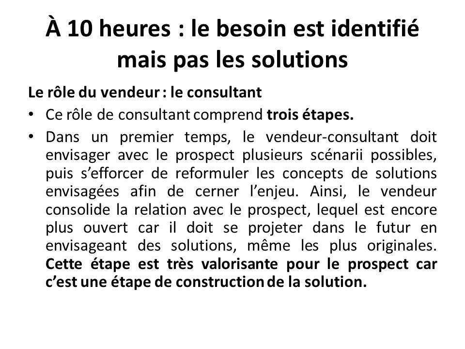 À 10 heures : le besoin est identifié mais pas les solutions Le rôle du vendeur : le consultant Ce rôle de consultant comprend trois étapes. Dans un p