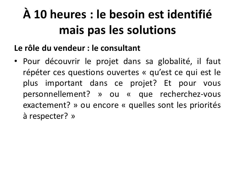 À 10 heures : le besoin est identifié mais pas les solutions Le rôle du vendeur : le consultant Pour découvrir le projet dans sa globalité, il faut ré