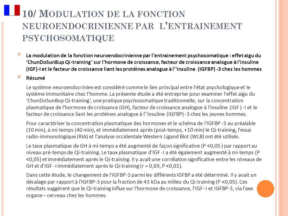 10/ M ODULATION DE LA FONCTION NEUROENDOCRINIENNE PAR L ENTRAINEMENT PSYCHOSOMATIQUE La modulation de la fonction neuroendocrinienne par lentrainement