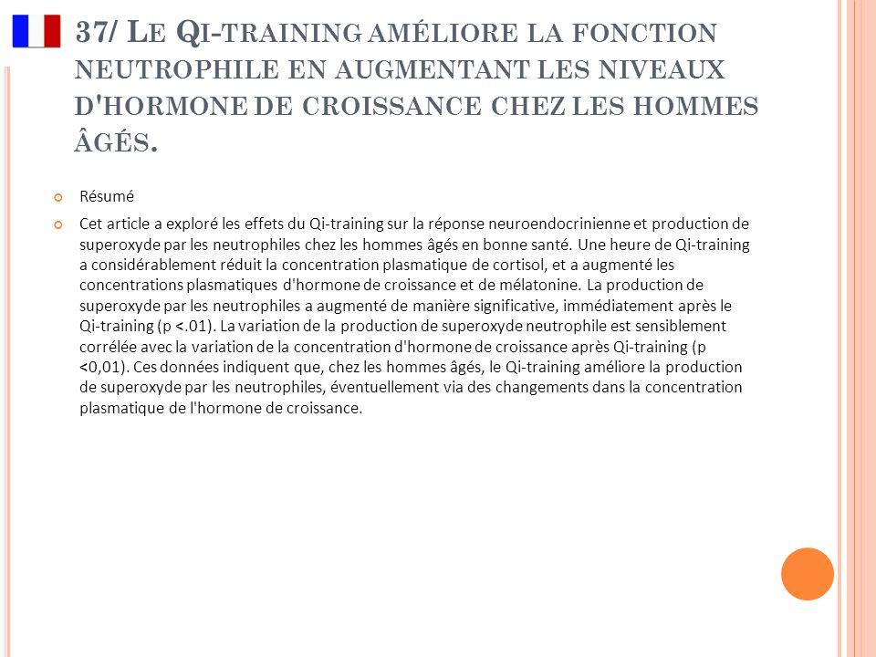 37/ L E Q I - TRAINING AMÉLIORE LA FONCTION NEUTROPHILE EN AUGMENTANT LES NIVEAUX D ' HORMONE DE CROISSANCE CHEZ LES HOMMES ÂGÉS. Résumé Cet article a
