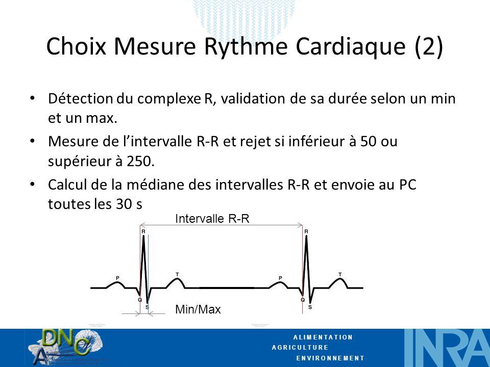 A L I M E N T A T I O N A G R I C U L T U R E E N V I R O N N E M E N T Choix Mesure Rythme Cardiaque (2) Détection du complexe R, validation de sa durée selon un min et un max.