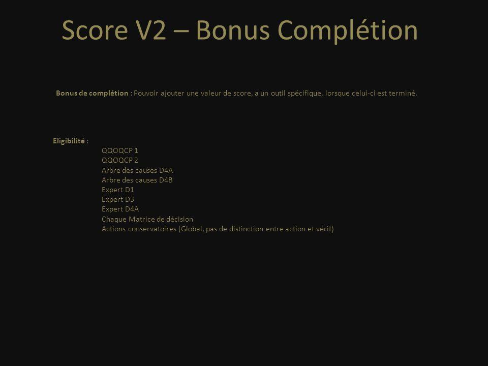 Score V2 – Bonus Complétion Eligibilité : QQOQCP 1 QQOQCP 2 Arbre des causes D4A Arbre des causes D4B Expert D1 Expert D3 Expert D4A Chaque Matrice de décision Actions conservatoires (Global, pas de distinction entre action et vérif) Bonus de complétion : Pouvoir ajouter une valeur de score, a un outil spécifique, lorsque celui-ci est terminé.