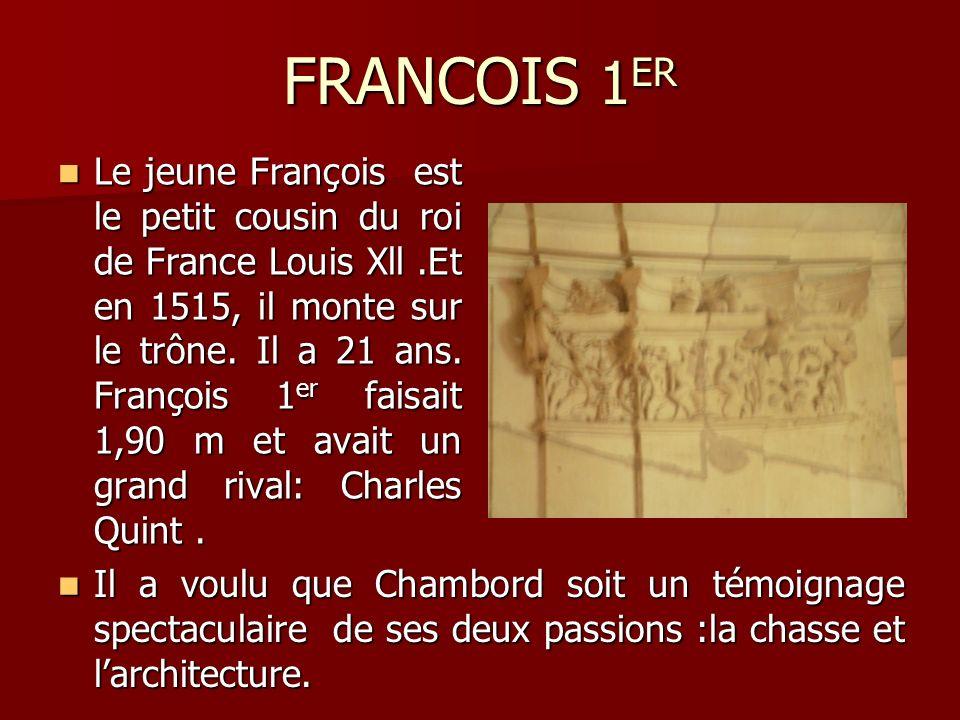 FRANCOIS 1 ER Le jeune François est le petit cousin du roi de France Louis Xll.Et en 1515, il monte sur le trône. Il a 21 ans. François 1 er faisait 1