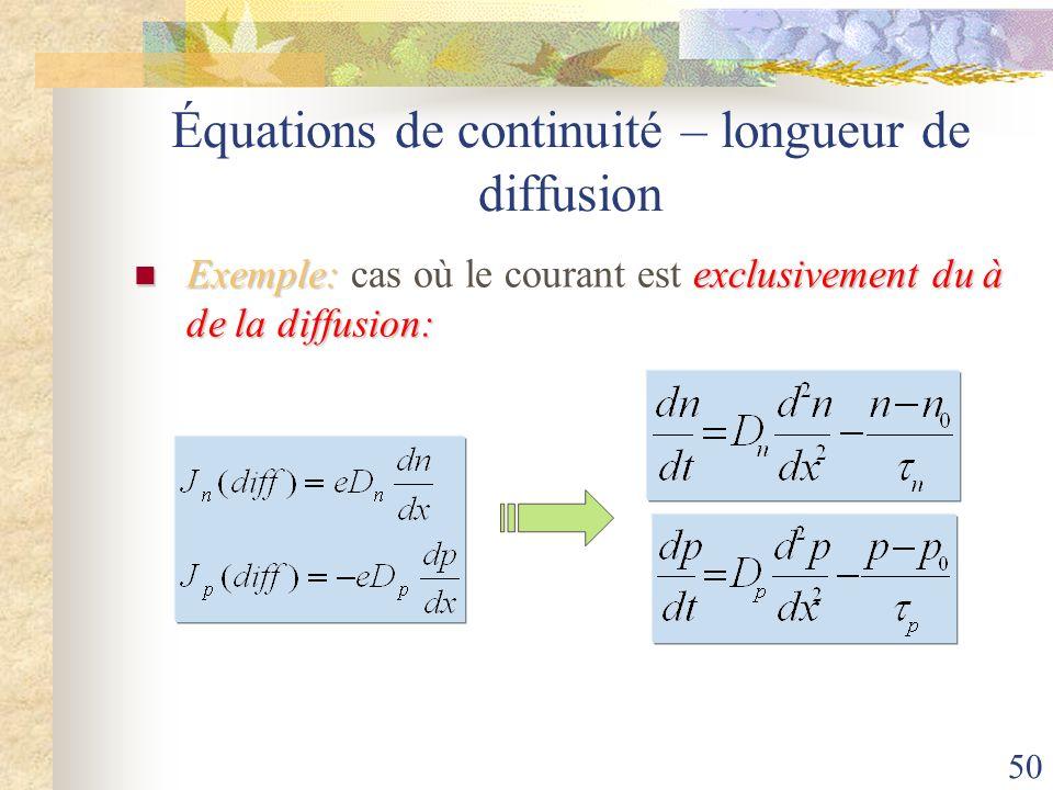 50 Équations de continuité – longueur de diffusion Exemple:exclusivement du à de la diffusion: Exemple: cas où le courant est exclusivement du à de la