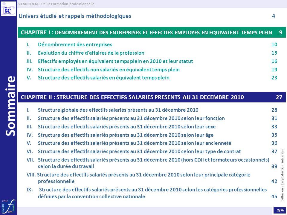 BILAN SOCIAL De La Formation professionnelle Diffusion et reproduction interdites Sommaire CHAPITRE III : REMUNERATION 48 I.