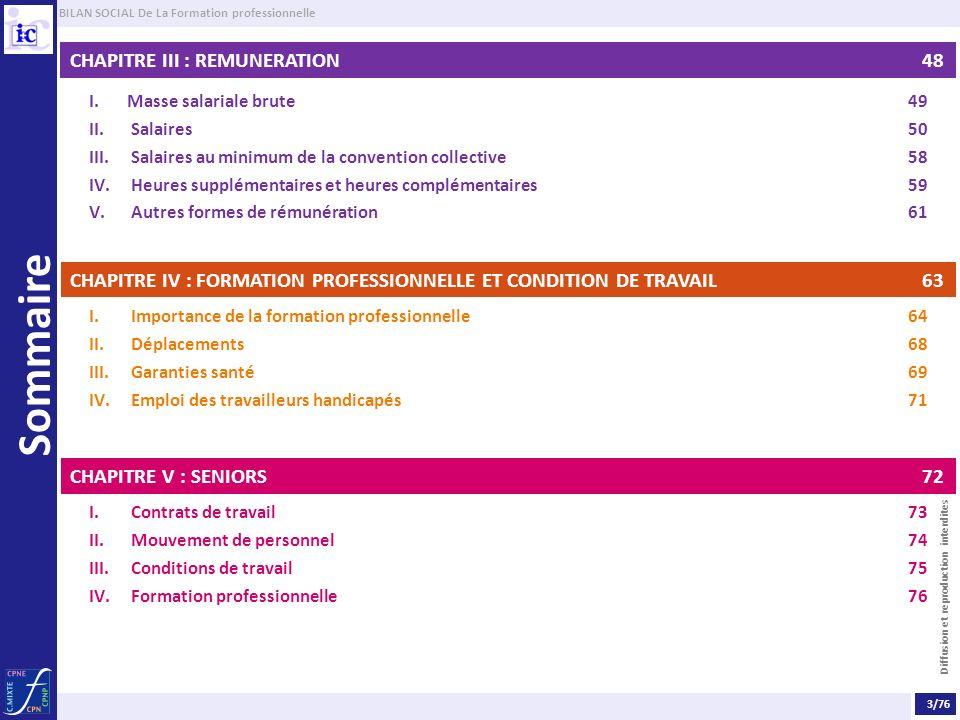 BILAN SOCIAL De La Formation professionnelle Diffusion et reproduction interdites Sommaire CHAPITRE III : REMUNERATION 48 I. Masse salariale brute49 I