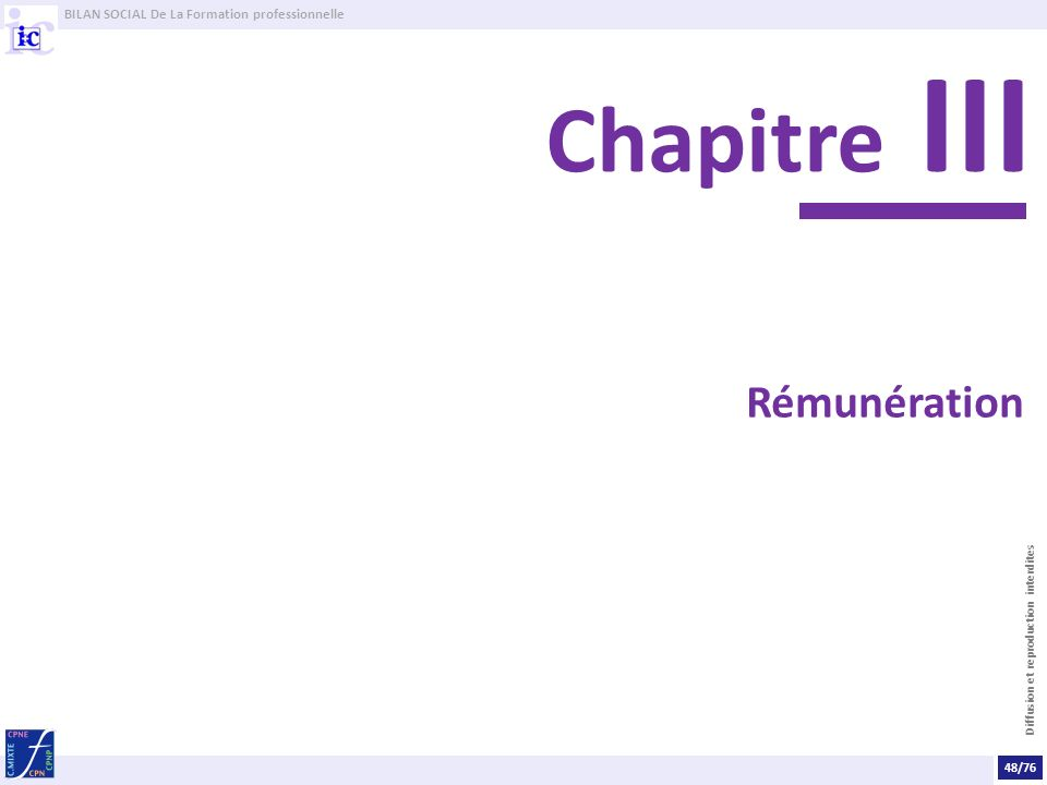BILAN SOCIAL De La Formation professionnelle Diffusion et reproduction interdites Rémunération Chapitre III 48/76