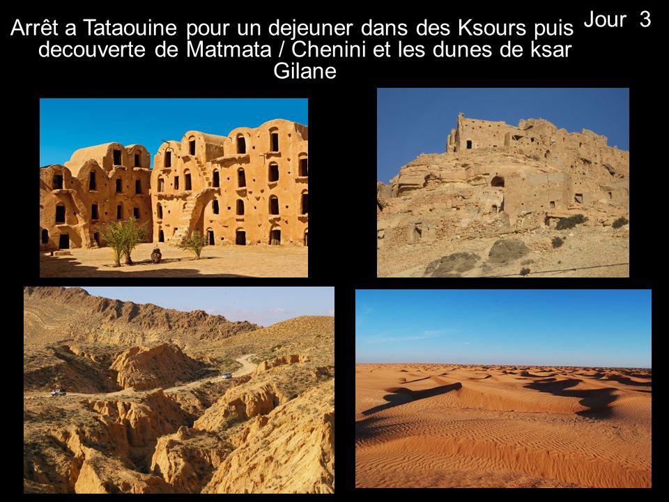 Arrêt a Tataouine pour un dejeuner dans des Ksours puis decouverte de Matmata / Chenini et les dunes de ksar Gilane Jour 3