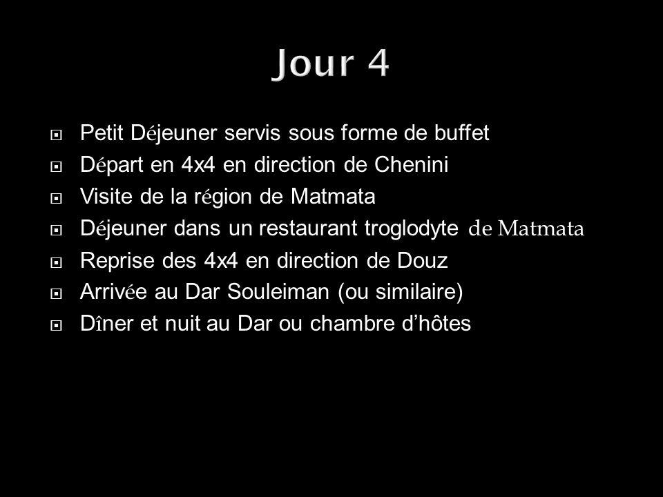 Petit D é jeuner servis sous forme de buffet D é part en 4x4 en direction de Chenini Visite de la r é gion de Matmata D é jeuner dans un restaurant tr