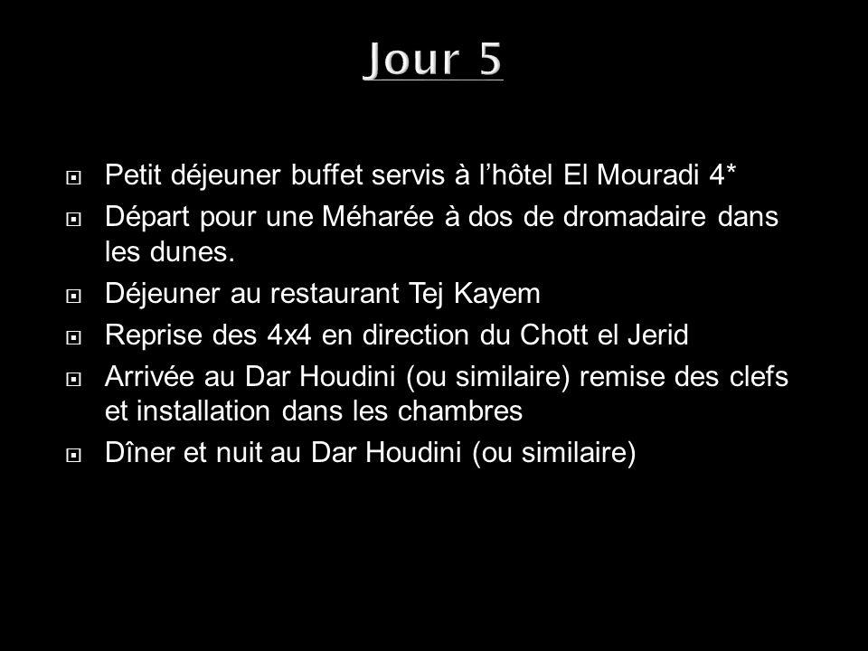 Petit déjeuner buffet servis à lhôtel El Mouradi 4* Départ pour une Méharée à dos de dromadaire dans les dunes. Déjeuner au restaurant Tej Kayem Repri