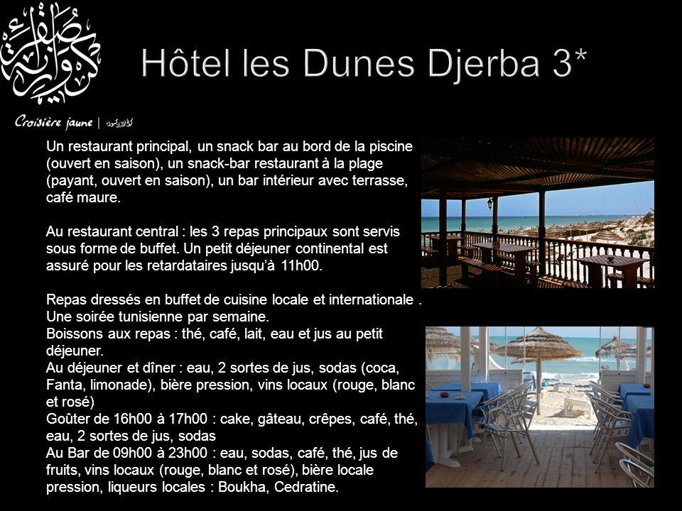 Petit déjeuner buffet servis à lhôtel El Mouradi 4* Départ pour une Méharée à dos de dromadaire dans les dunes.