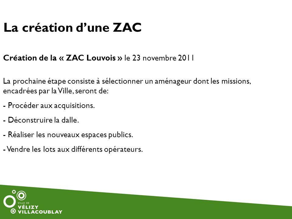 La création dune ZAC Création de la « ZAC Louvois » le 23 novembre 2011 La prochaine étape consiste à sélectionner un aménageur dont les missions, enc