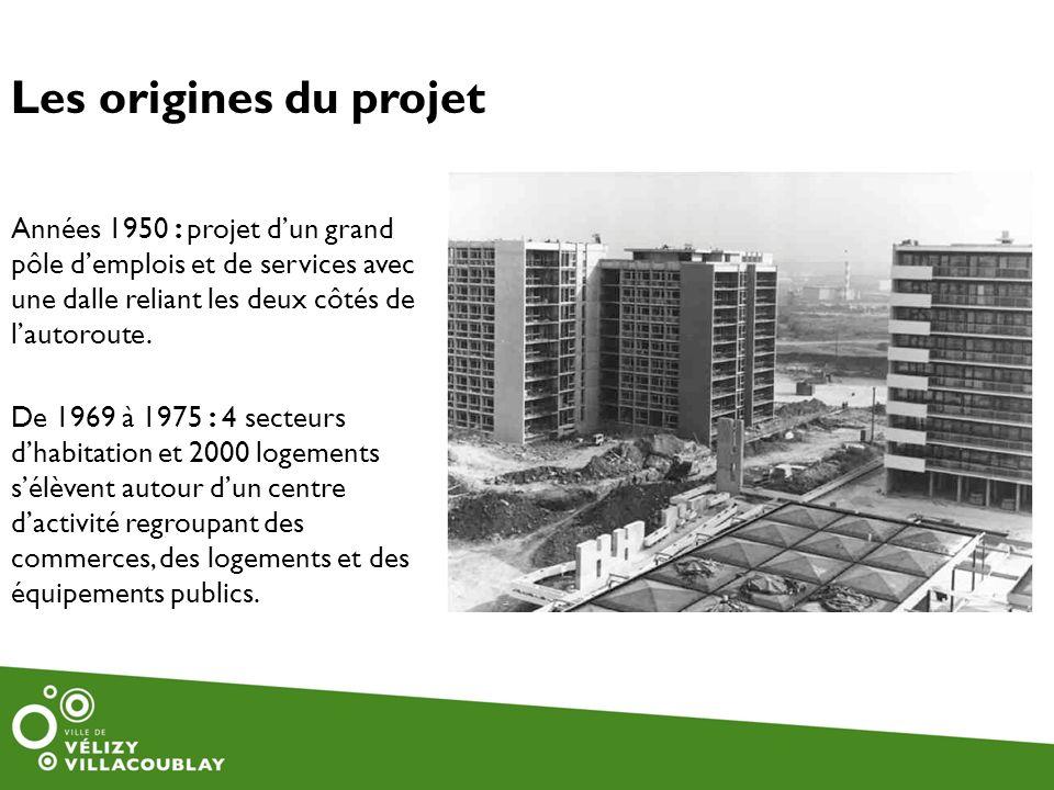 Les origines du projet Années 1950 : projet dun grand pôle demplois et de services avec une dalle reliant les deux côtés de lautoroute. De 1969 à 1975