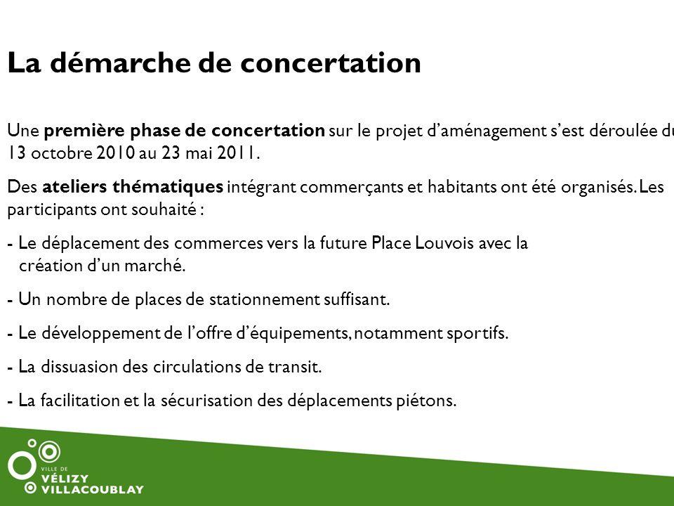 Une première phase de concertation sur le projet daménagement sest déroulée du 13 octobre 2010 au 23 mai 2011. Des ateliers thématiques intégrant comm