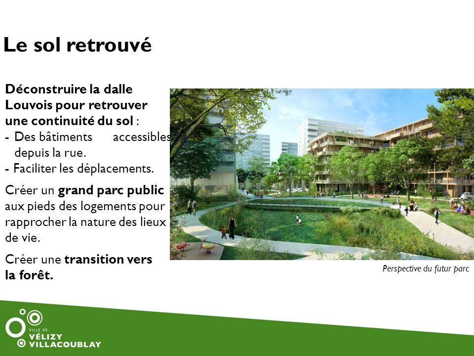 Le sol retrouvé Déconstruire la dalle Louvois pour retrouver une continuité du sol : -Des bâtiments accessibles depuis la rue. - Faciliter les déplace