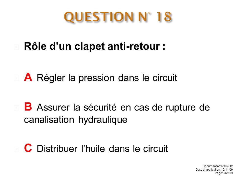 Rôle dun distributeur hydraulique : A Assurer la pression dans un circuit B Réguler la vitesse des vérins C Diriger lhuile vers les récepteurs (vérins