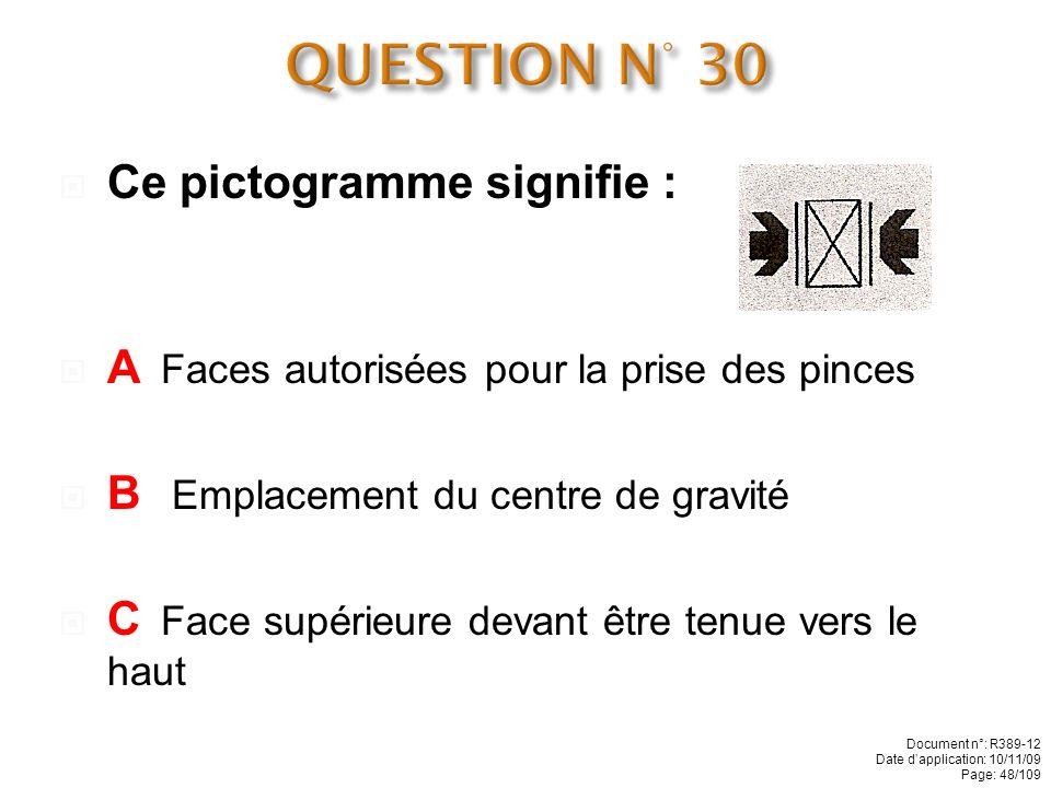 Ce pictogramme signifie : A Contenu fragile B Emplacement du centre de gravité C Face supérieure devant être tenue vers le haut Document n°: R389-12 D