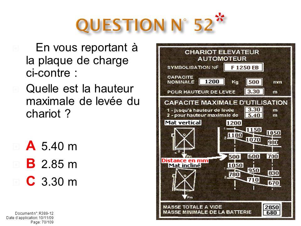 - En vous reportant à la plaque de charge ci-contre : Quelle est la capacité nominale du chariot ? A 2000 kg B 1600 kg C 1200 kg Document n°: R389-12