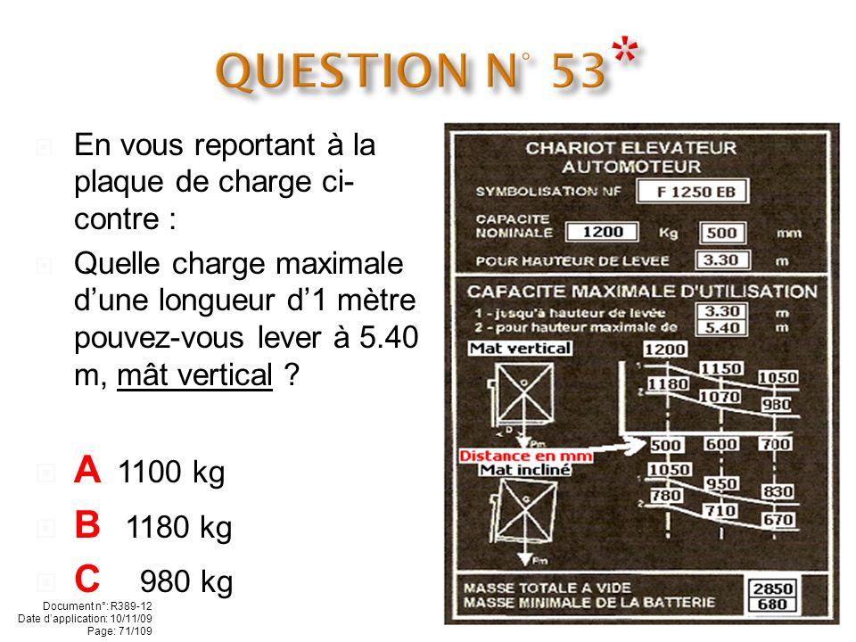 - En vous reportant à la plaque de charge ci-contre : Quelle est la hauteur maximale de levée du chariot ? A 5.40 m B 2.85 m C 3.30 m Document n°: R38