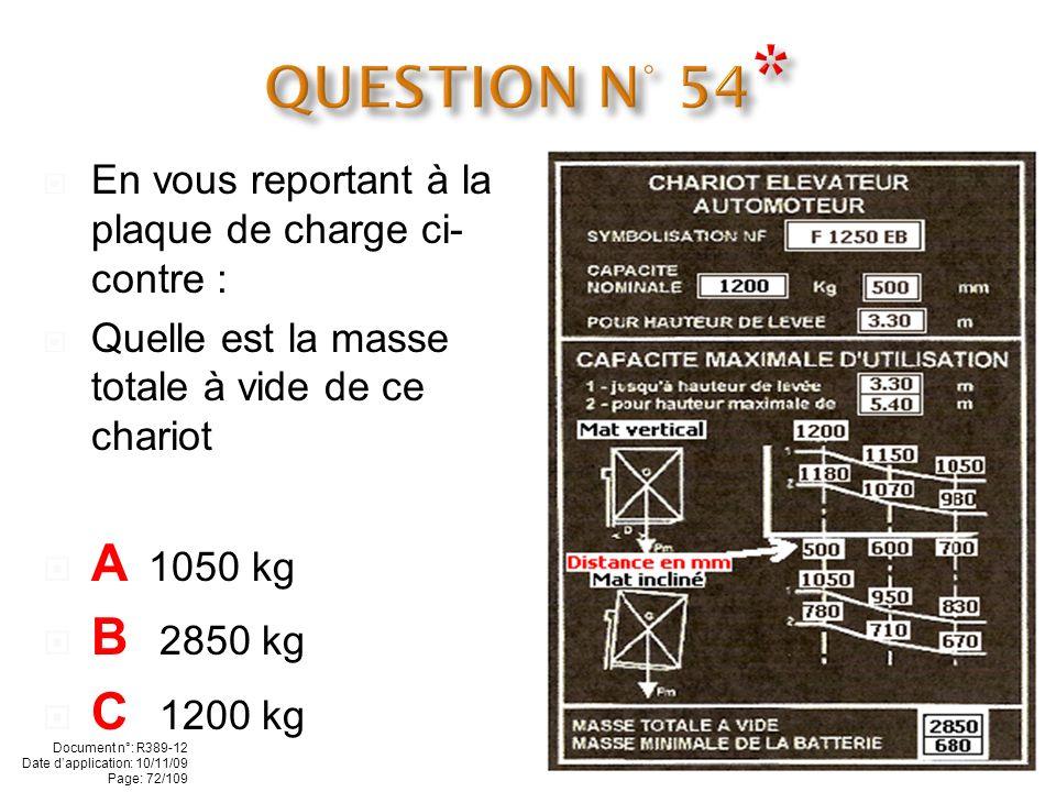 En vous reportant à la plaque de charge ci- contre : Quelle charge maximale dune longueur d1 mètre pouvez-vous lever à 5.40 m, mât vertical ? A 1100 k