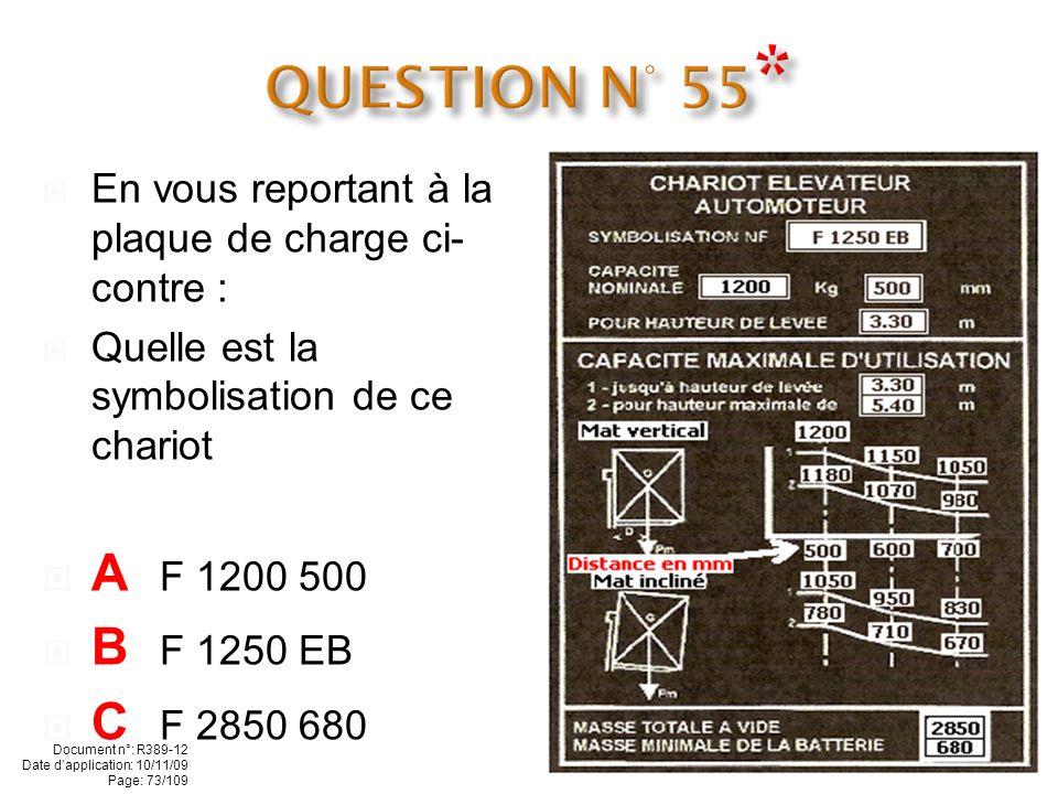 En vous reportant à la plaque de charge ci- contre : Quelle est la masse totale à vide de ce chariot A 1050 kg B 2850 kg C 1200 kg Document n°: R389-1