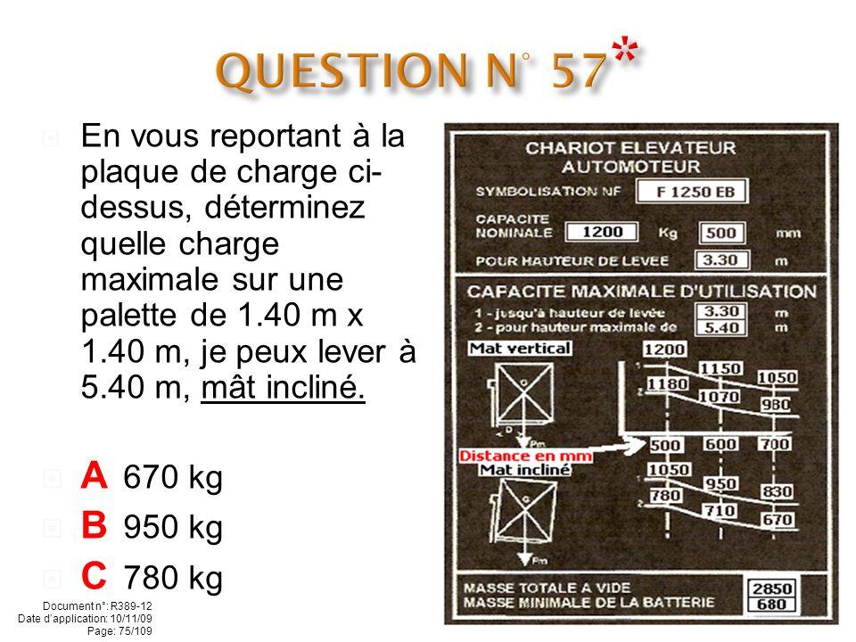 En vous reportant à la plaque de charge ci- contre, déterminez à quelle hauteur peut-on monter une palette de 1.20 m et de 830 kg mat incliné: A 3.00 m B 3.30 m C 5.00 m Document n°: R389-12 Date dapplication: 10/11/09 Page: 74/109