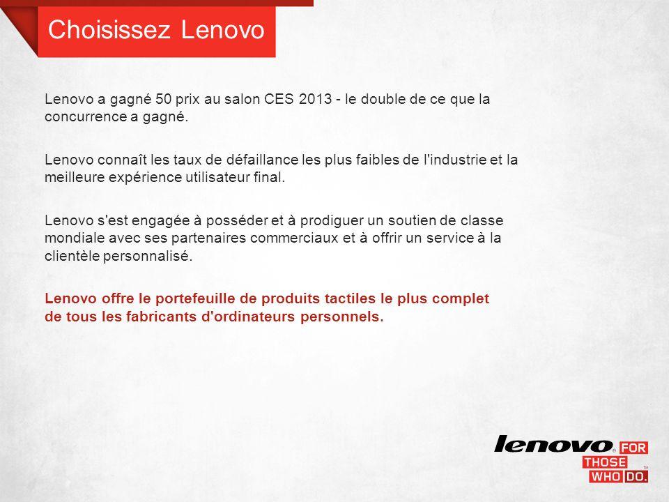 LENOVO EST PRÊTE POUR LE TACTILE D ici 2015, 75 % des appareils seront tactiles.