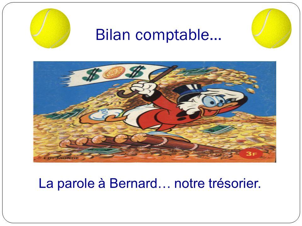 Bilan comptable… La parole à Bernard… notre trésorier.