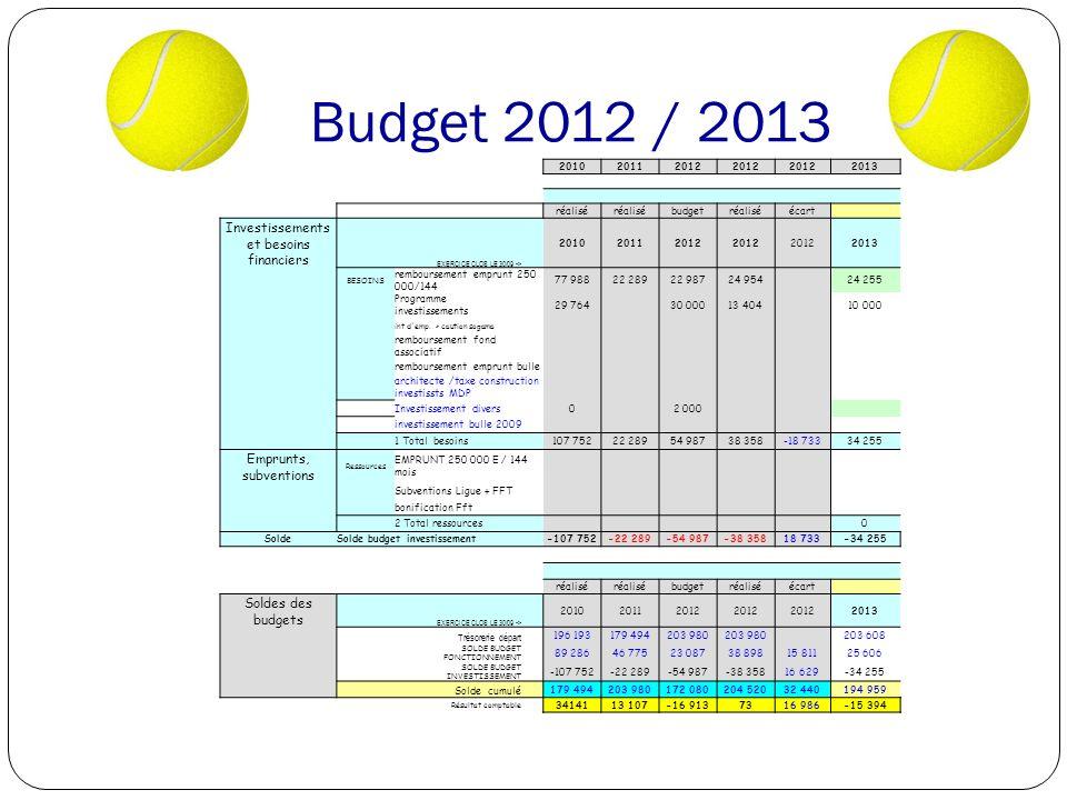 Budget 2012 / 2013 201020112012 2013 réalisé budgetréaliséécart Investissements et besoins financiers EXERCICE CLOS LE 30/09 -> 201020112012 2013 BESOINS remboursement emprunt 250 000/144 77 98822 28922 98724 954 24 255 Programme investissements 29 764 30 00013 404 10 000 int d emp.