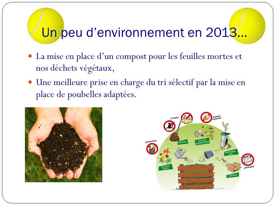 Un peu denvironnement en 2013… La mise en place dun compost pour les feuilles mortes et nos déchets végétaux, Une meilleure prise en charge du tri sélectif par la mise en place de poubelles adaptées.
