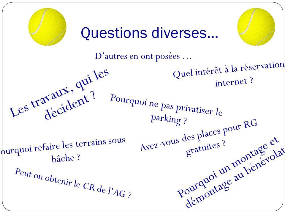 Questions diverses… Dautres en ont posées … Les travaux, qui les décident .