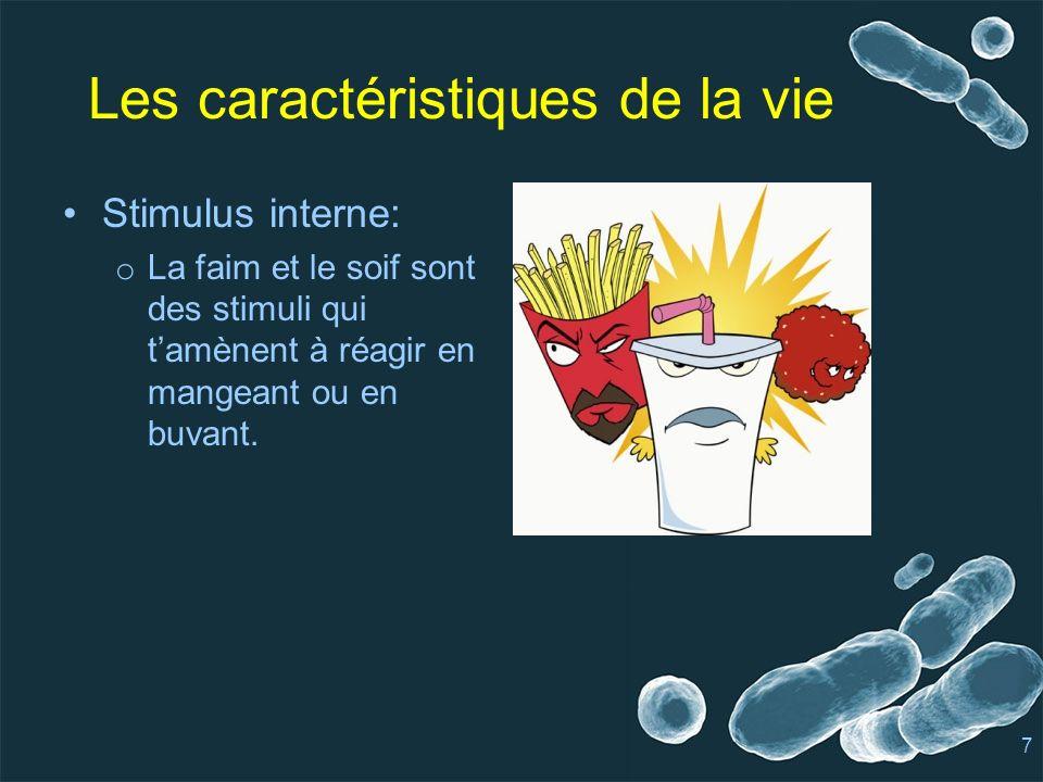 Les caractéristiques de la vie Stimulus interne: o La faim et le soif sont des stimuli qui tamènent à réagir en mangeant ou en buvant.