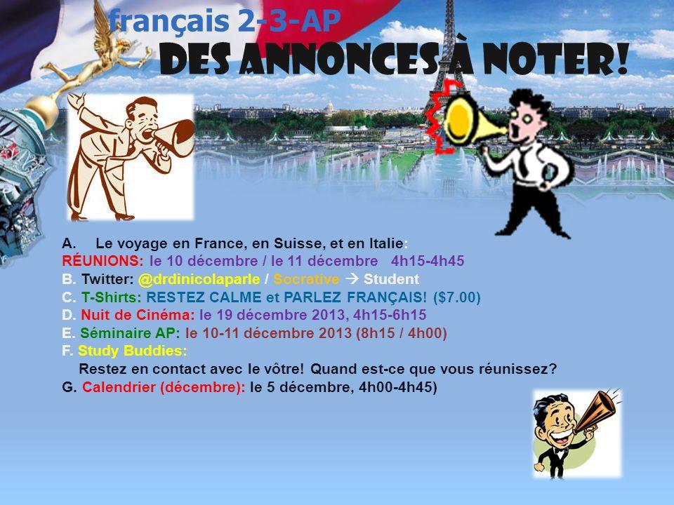 français 5H/AP ® le 5 décembre 2013 ActivitésClasseur CHANSONS de NOËL Énigme 14 Activités/Devoirs I. Test de Vocabulaire 2 : La santé Activités/Devoi