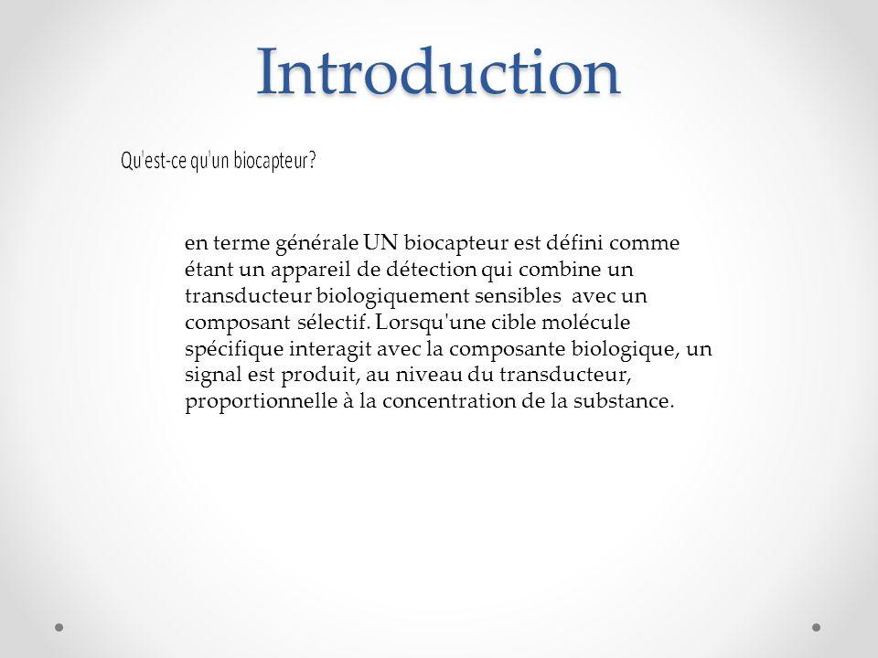 Introduction en terme générale UN biocapteur est défini comme étant un appareil de détection qui combine un transducteur biologiquement sensibles avec