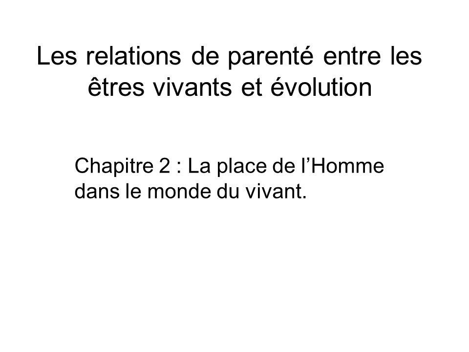 Les relations de parenté entre les êtres vivants et évolution Chapitre 2 : La place de lHomme dans le monde du vivant.