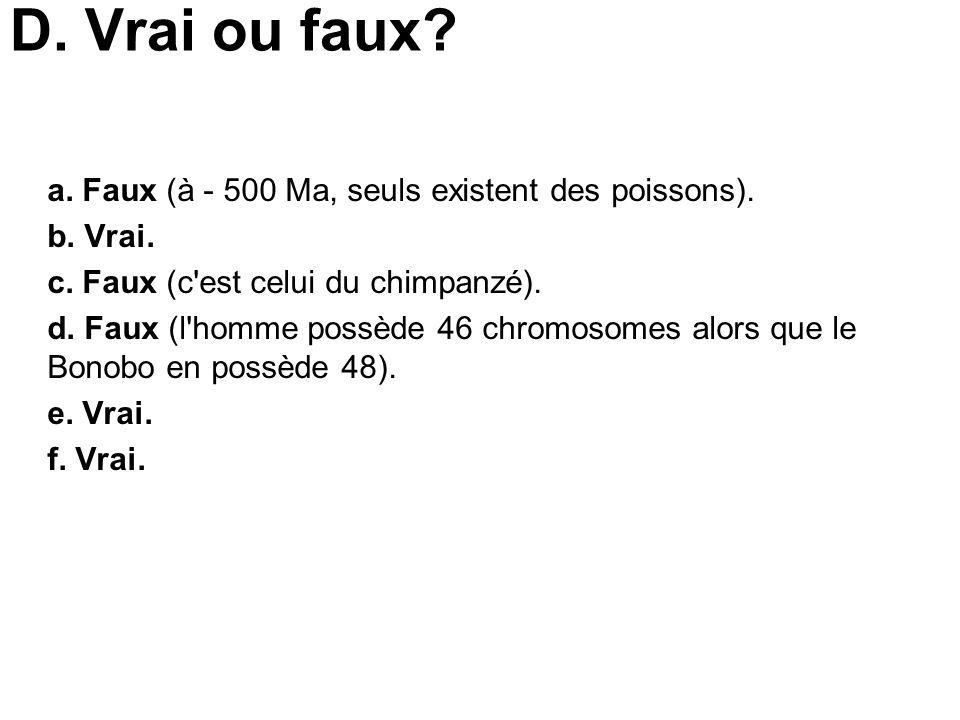 D. Vrai ou faux? a. Faux (à - 500 Ma, seuls existent des poissons). b. Vrai. c. Faux (c'est celui du chimpanzé). d. Faux (l'homme possède 46 chromosom