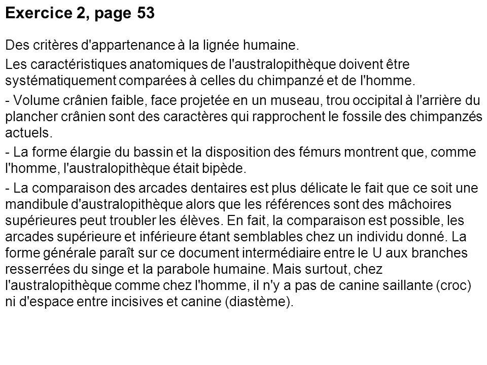 Exercice 2, page 53 Des critères d'appartenance à la lignée humaine. Les caractéristiques anatomiques de l'australopithèque doivent être systématiquem