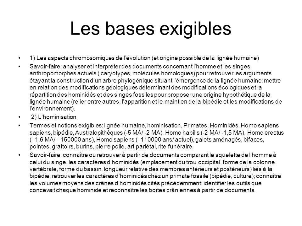 Les bases exigibles 1) Les aspects chromosomiques de lévolution (et origine possible de la lignée humaine) Savoir-faire: analyser et interpréter des d