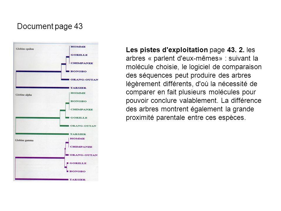 Document page 43 Les pistes d'exploitation page 43. 2. les arbres « parlent d'eux-mêmes» : suivant la molécule choisie, le logiciel de comparaison des