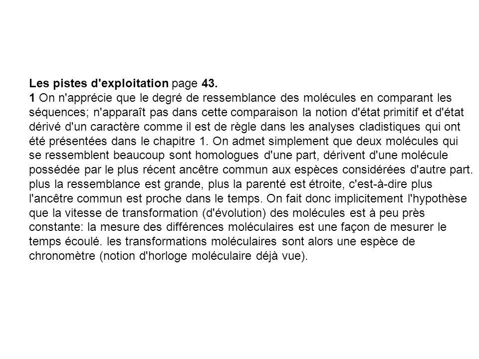 Les pistes d'exploitation page 43. 1 On n'apprécie que le degré de ressemblance des molécules en comparant les séquences; n'apparaît pas dans cette co