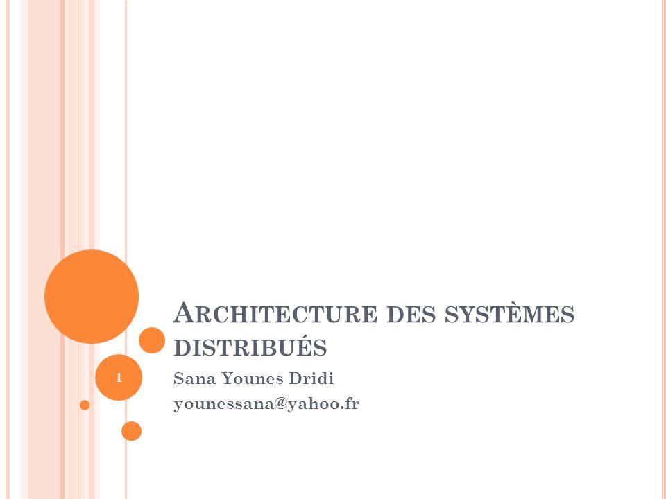 A RCHITECTURE DES SYSTÈMES DISTRIBUÉS Sana Younes Dridi younessana@yahoo.fr 1