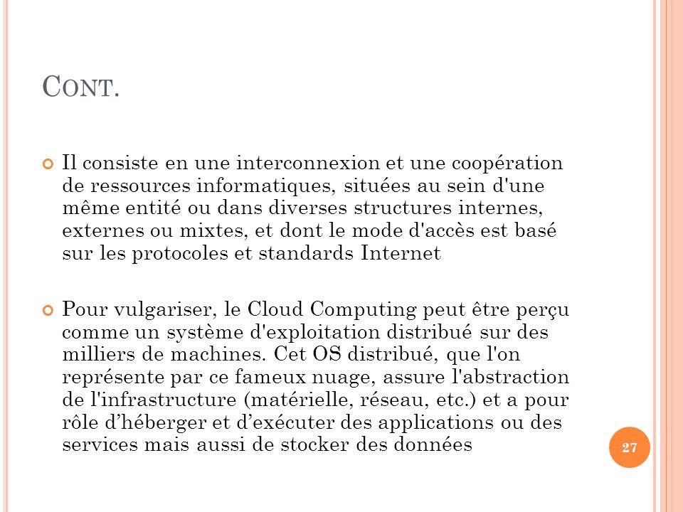 C ONT. Il consiste en une interconnexion et une coopération de ressources informatiques, situées au sein d'une même entité ou dans diverses structures