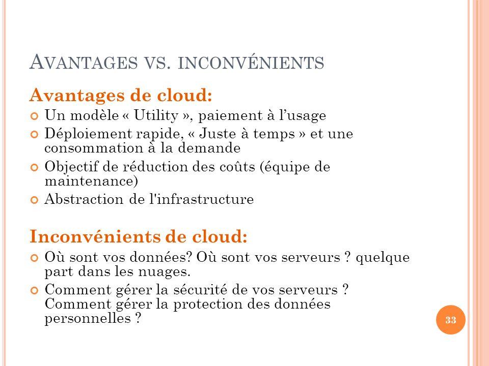 A VANTAGES VS. INCONVÉNIENTS Avantages de cloud: Un modèle « Utility », paiement à lusage Déploiement rapide, « Juste à temps » et une consommation à