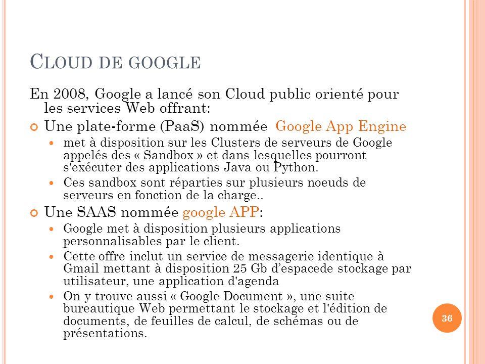 C LOUD DE GOOGLE En 2008, Google a lancé son Cloud public orienté pour les services Web offrant: Une plate-forme (PaaS) nommée Google App Engine met à